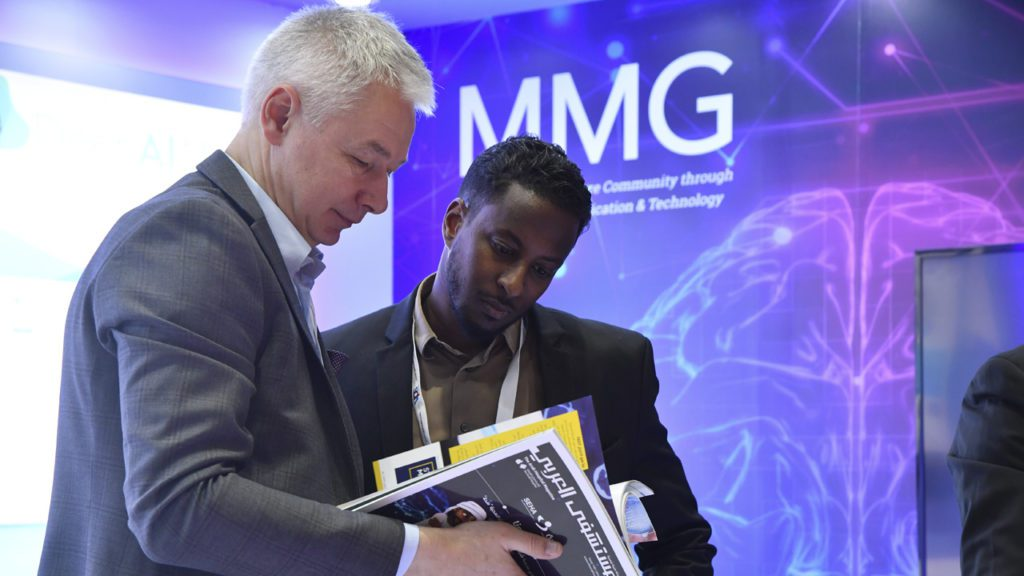 Oleg Vorontsov, CEO of MMG (left), at Arab Health.